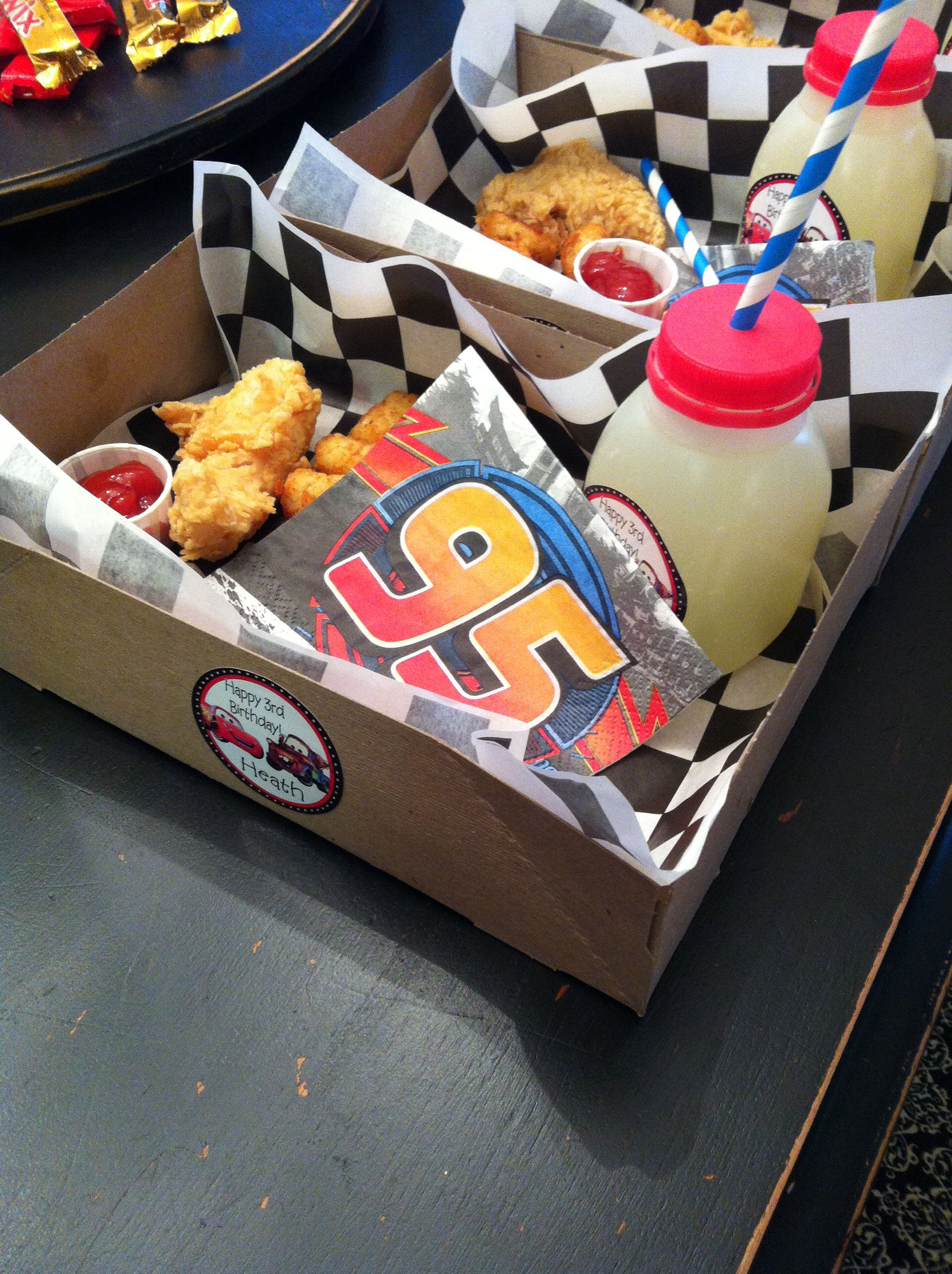 Disney Cars Party Drive in movie themed box dinner We