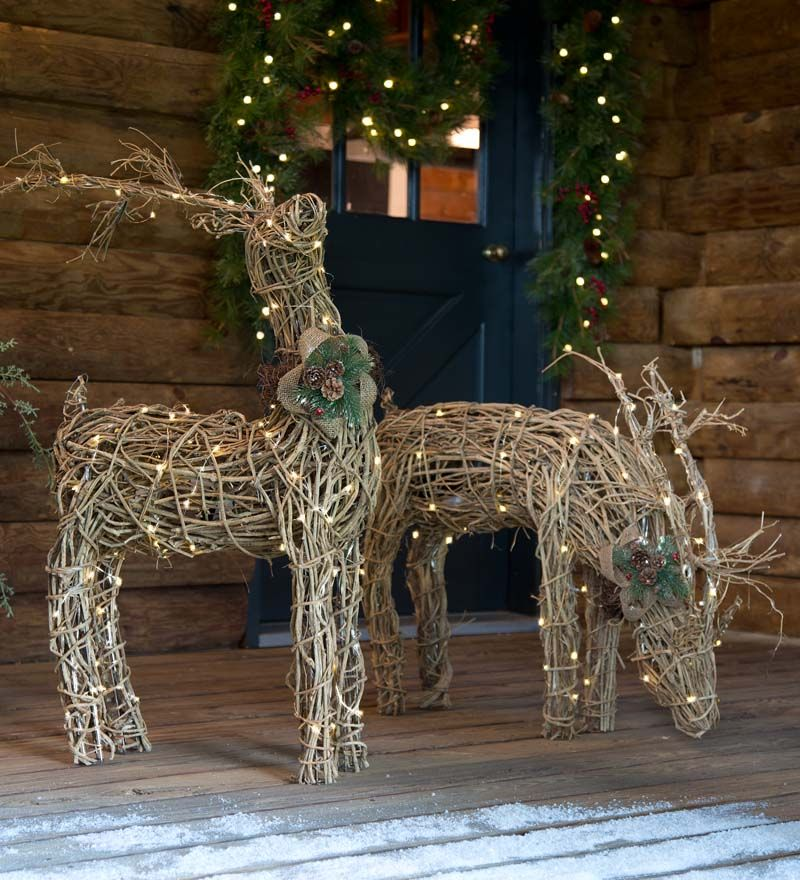 Lighted Rattan Reindeer are natural and rustic and