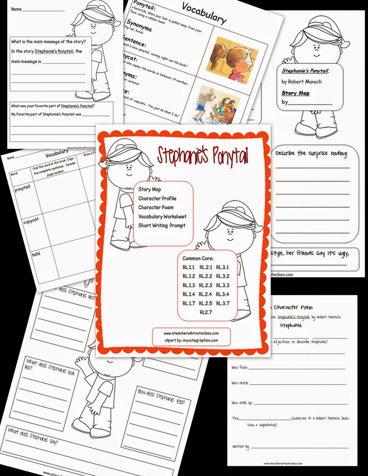 Comprehension Packet For Robert Munsch S Stephanie S Ponytail Included Story Map Character