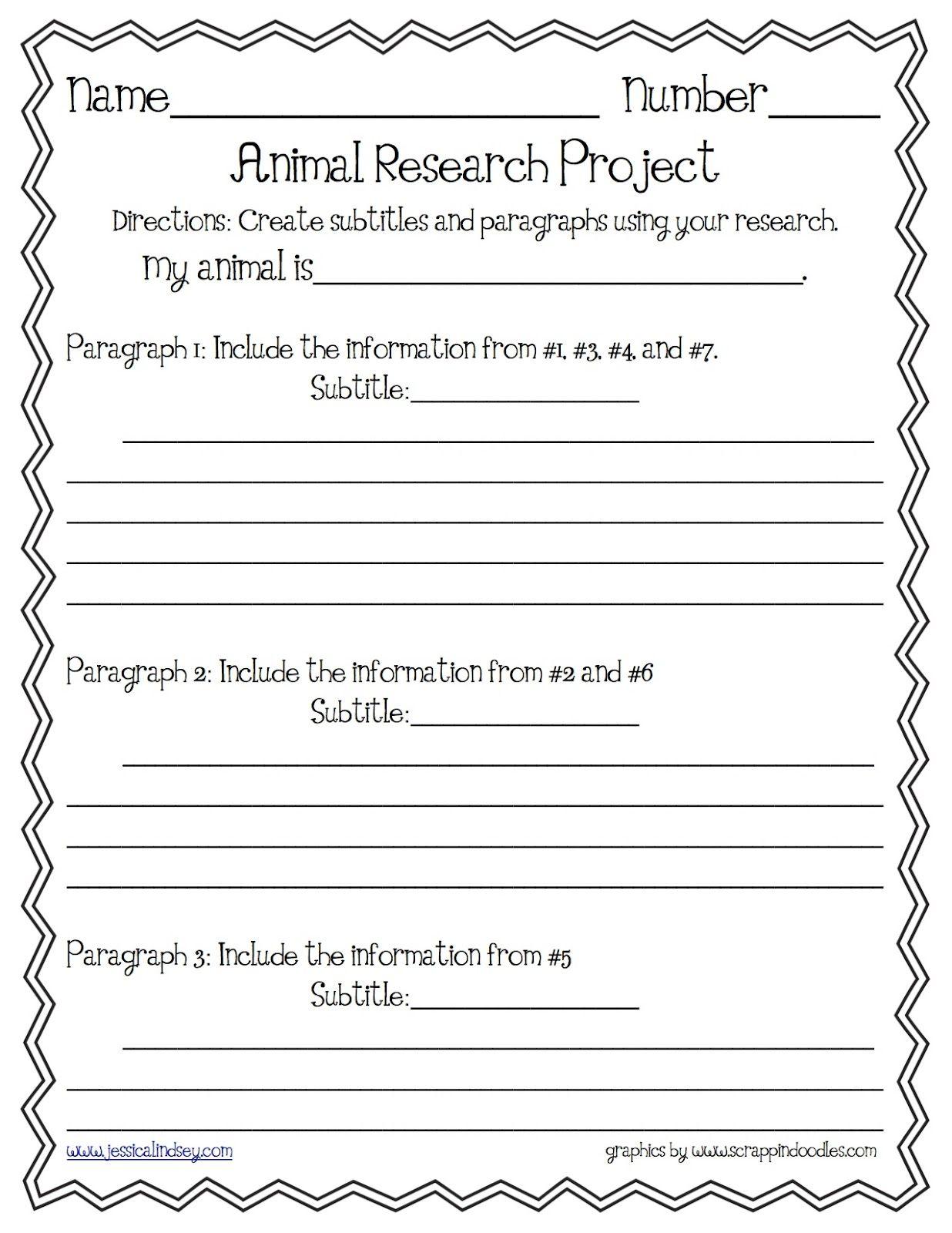 Animal Report Paragraph Organizer