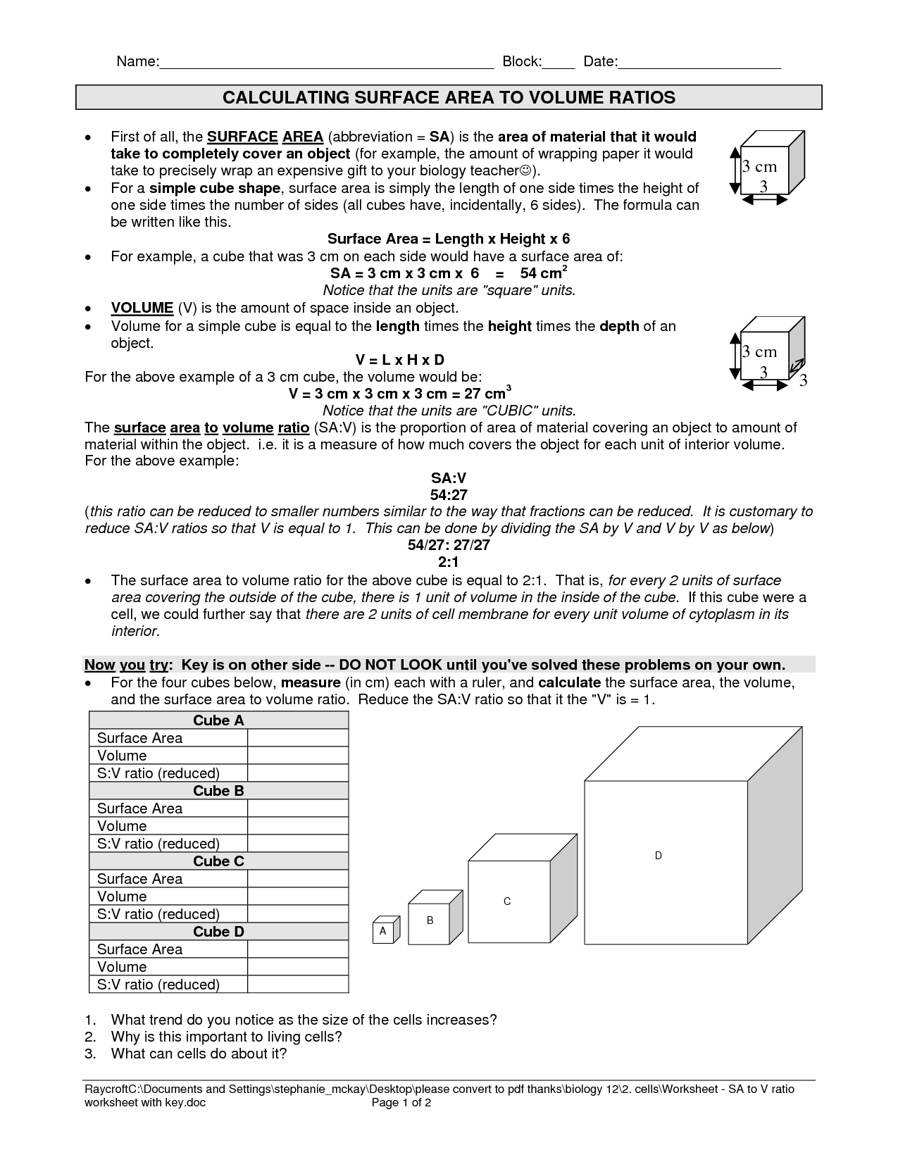 Surface Area To Volume Ratio Cells Worksheet
