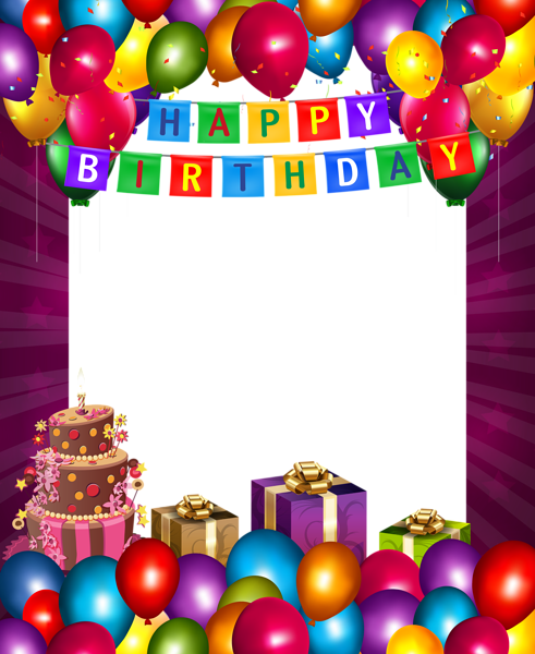 Happy Birthday with Balloons Transparent PNG Frame Happy