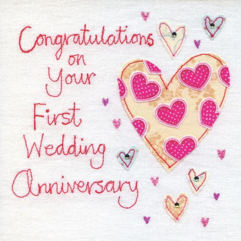Hand Finished First Wedding Anniversary Card Personal