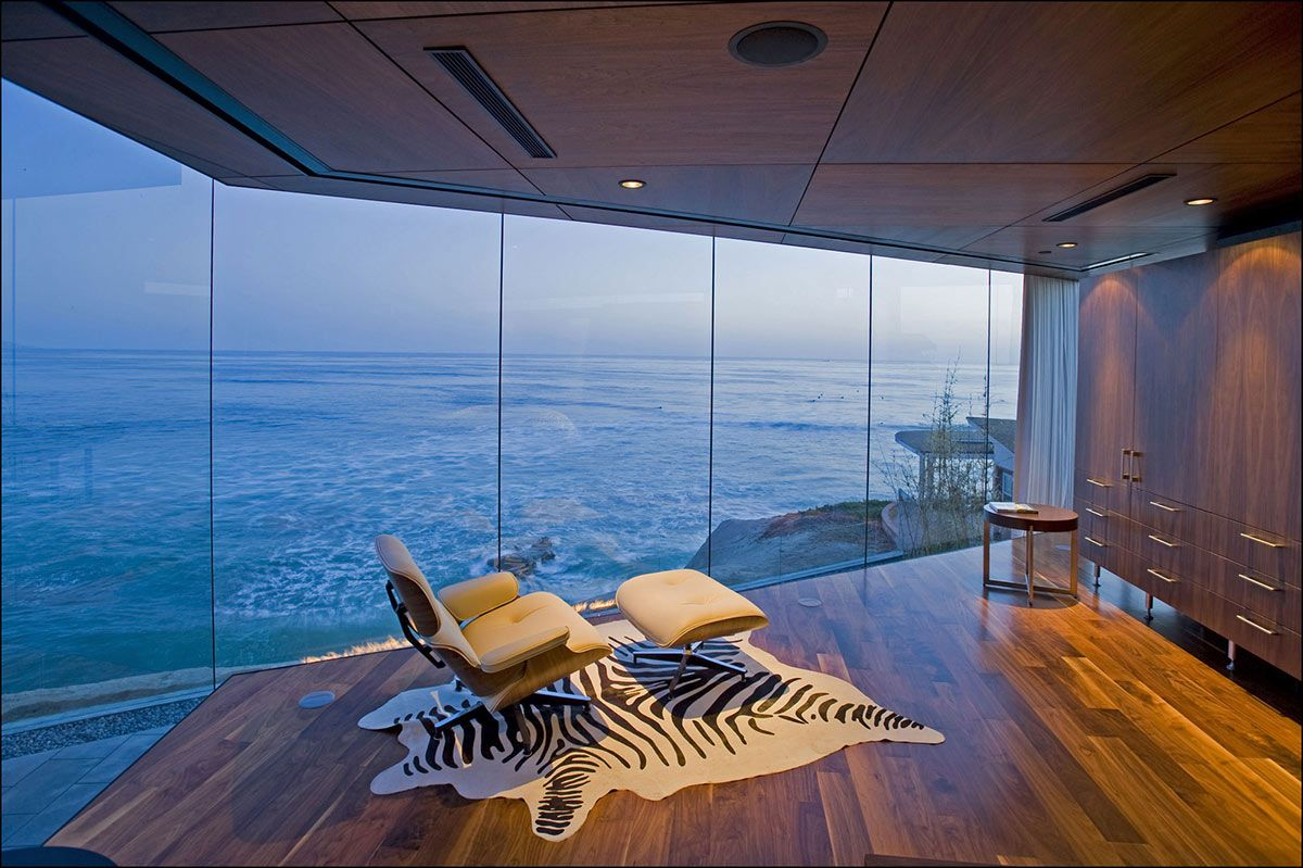 bedroom views, glass walls, exquisite ocean front residence in la