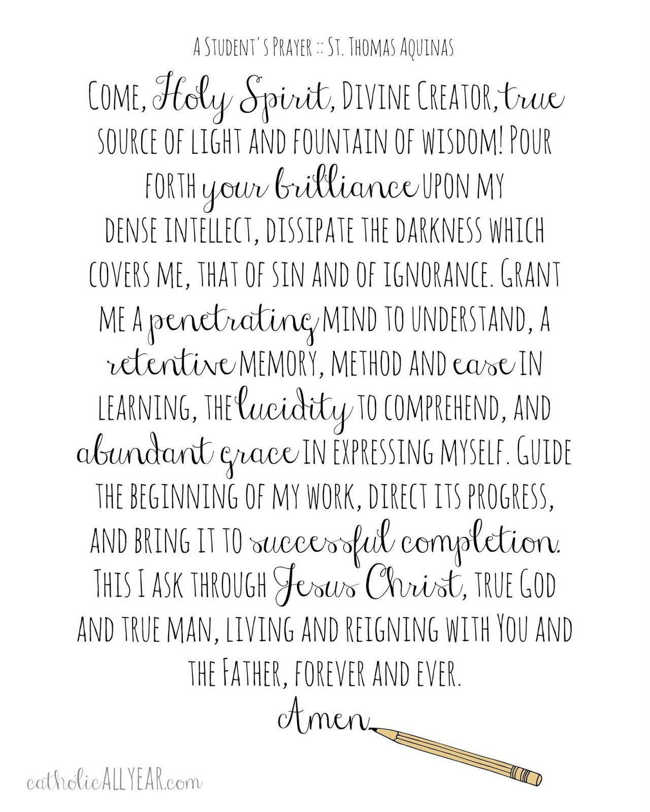 Catholic All Year A Student S Prayer Free Printable St Thomas Aquinas Quote Education