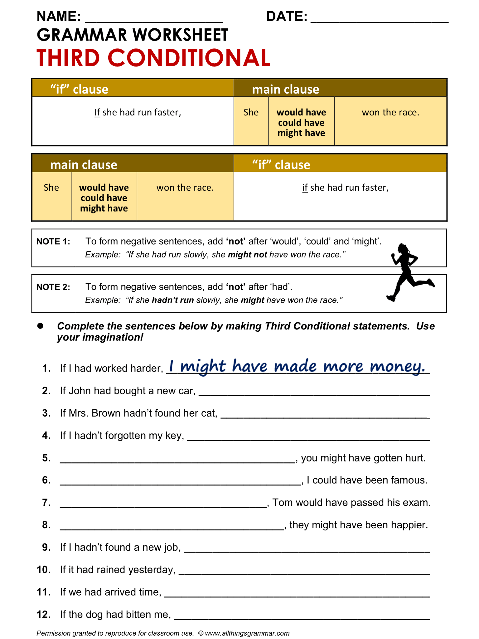 English Grammar Worksheet Third Conditional 1 2