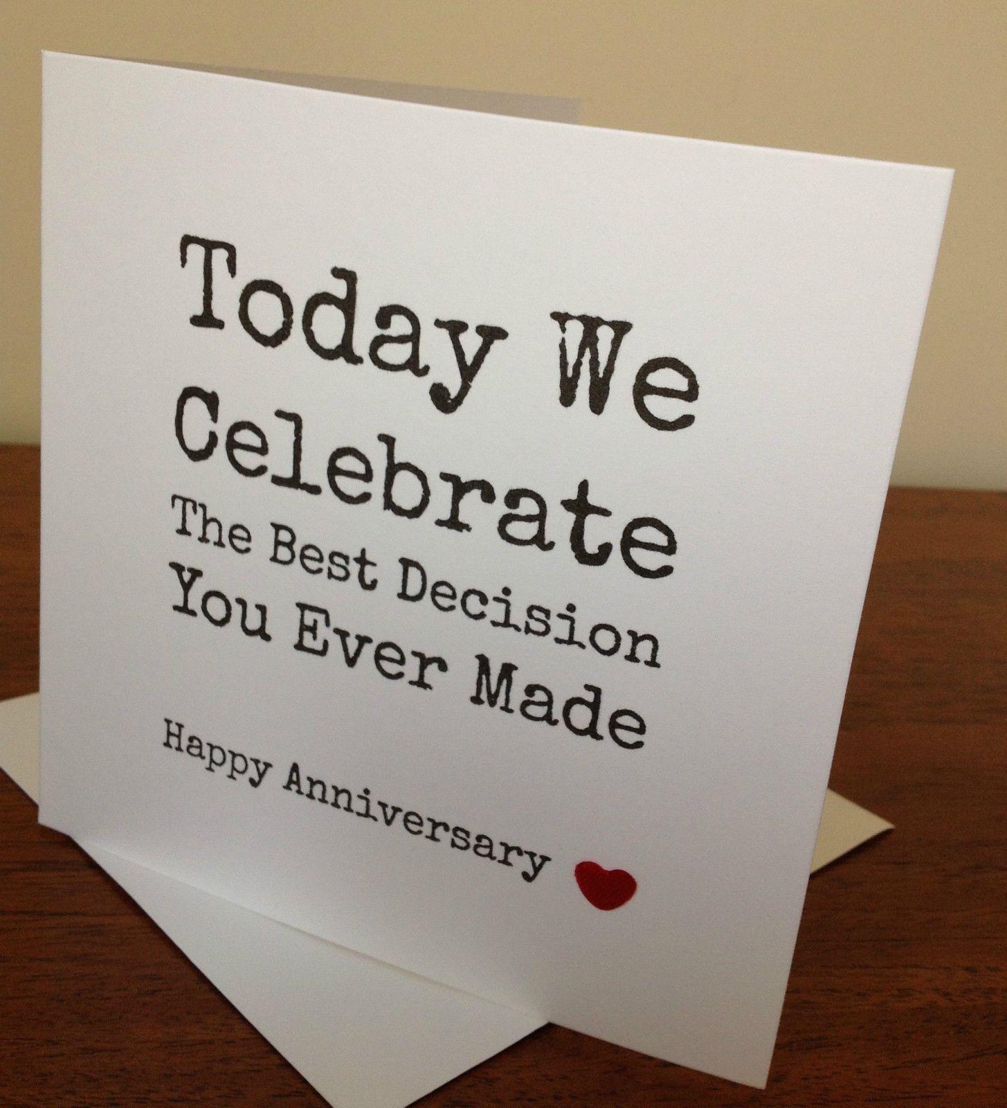 Handmade wife/husband anniversary card. funny