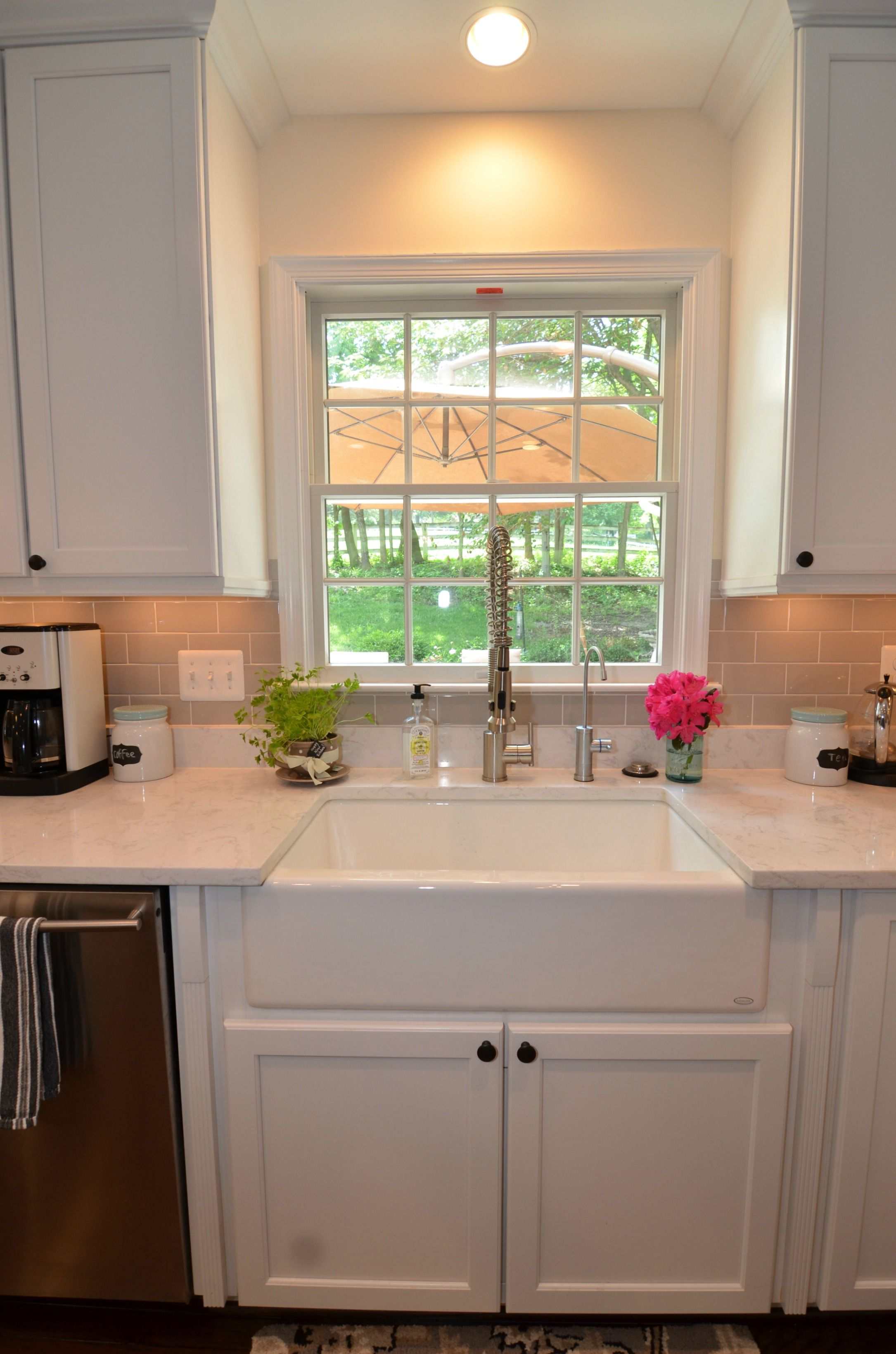 White farmhouse style sink, and Cambria Torquay