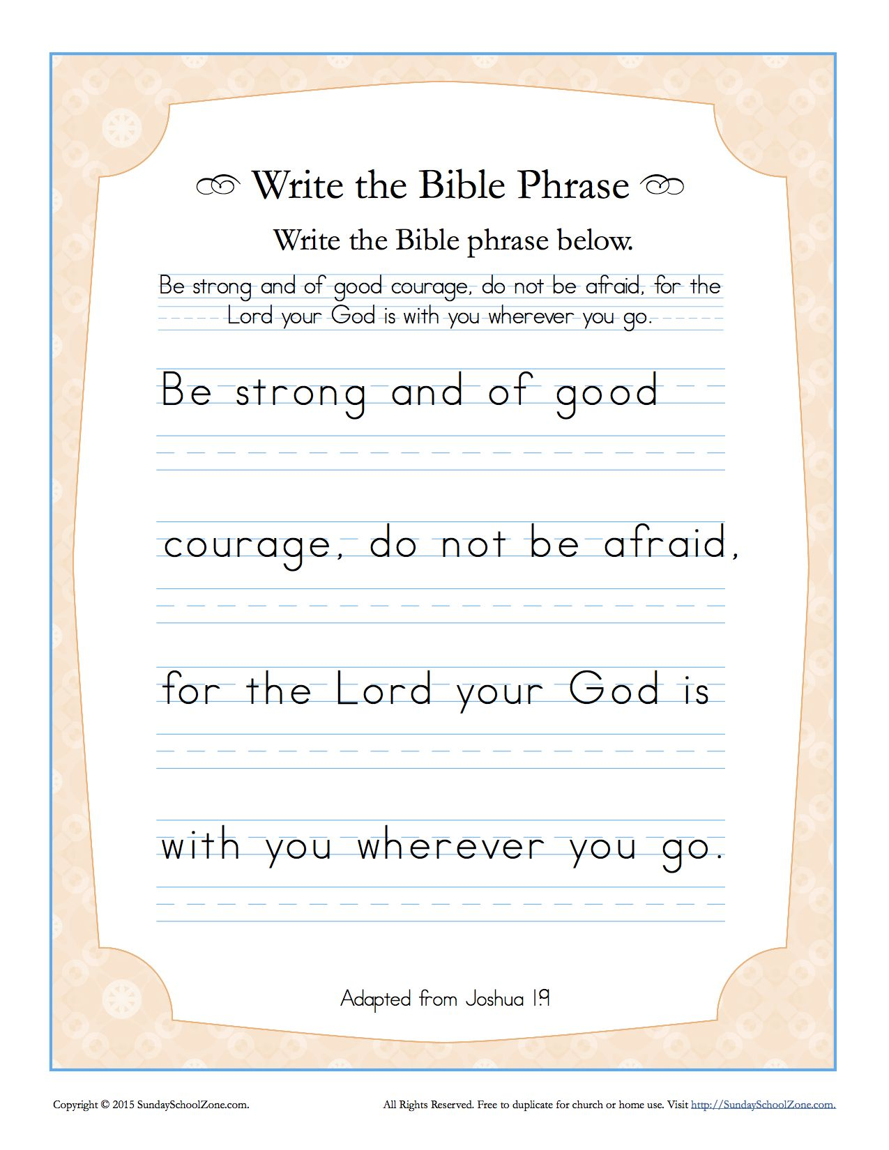 Joshua 1 9 Write The Bible Phrase Worksheet