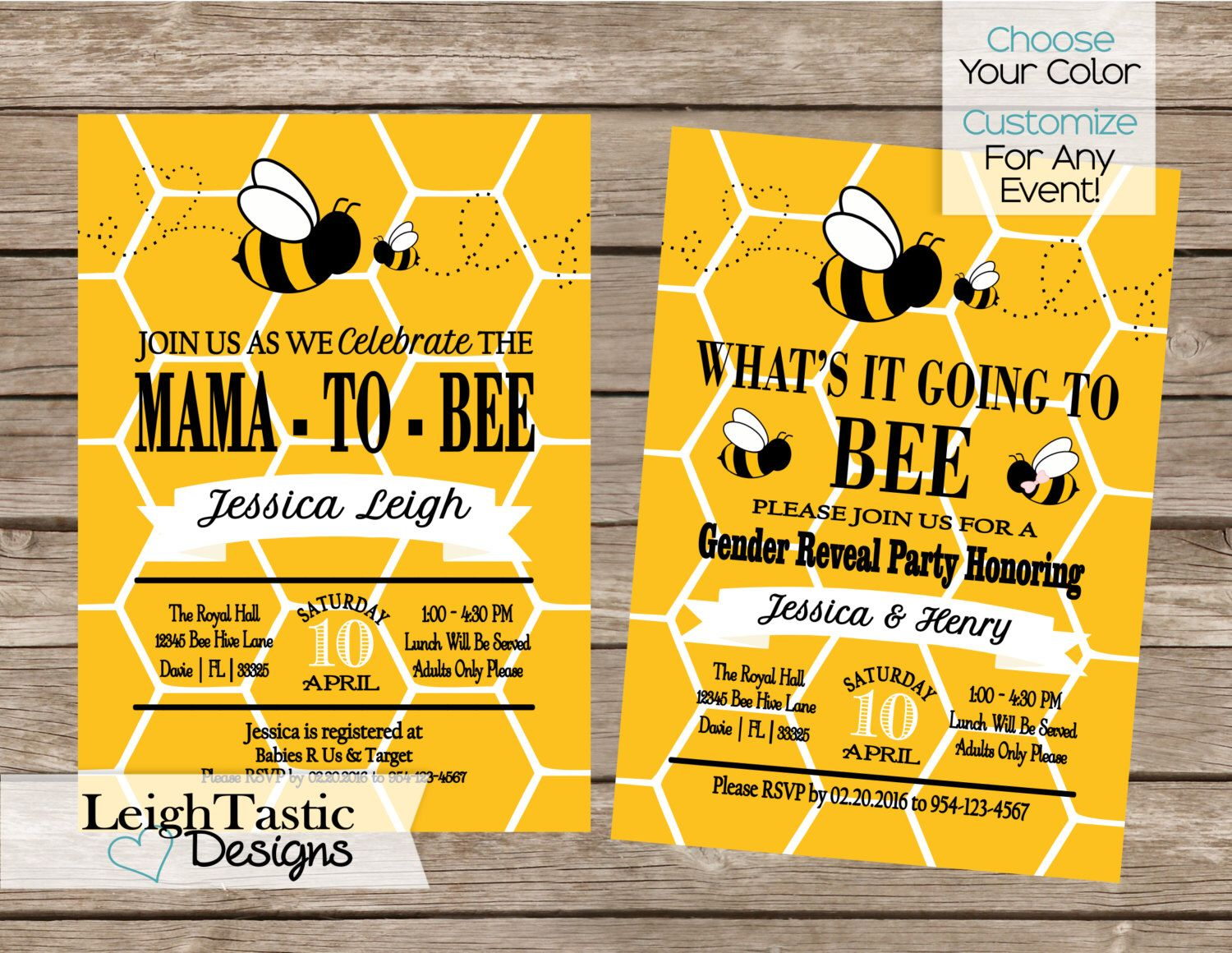 Printable Bumble Bee Comb Baby Shower Invitation Bee