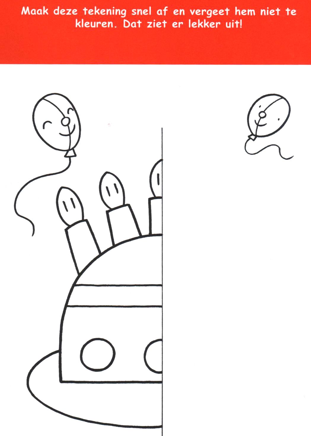 Werkblad Teken En Kleur De Andere Helft Van De Taart