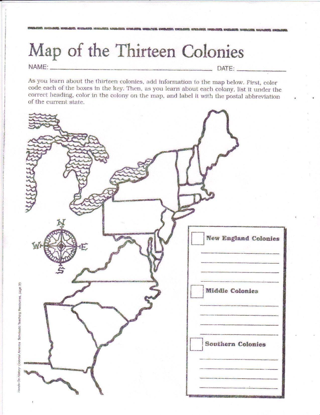 15 Colonies Map Worksheet