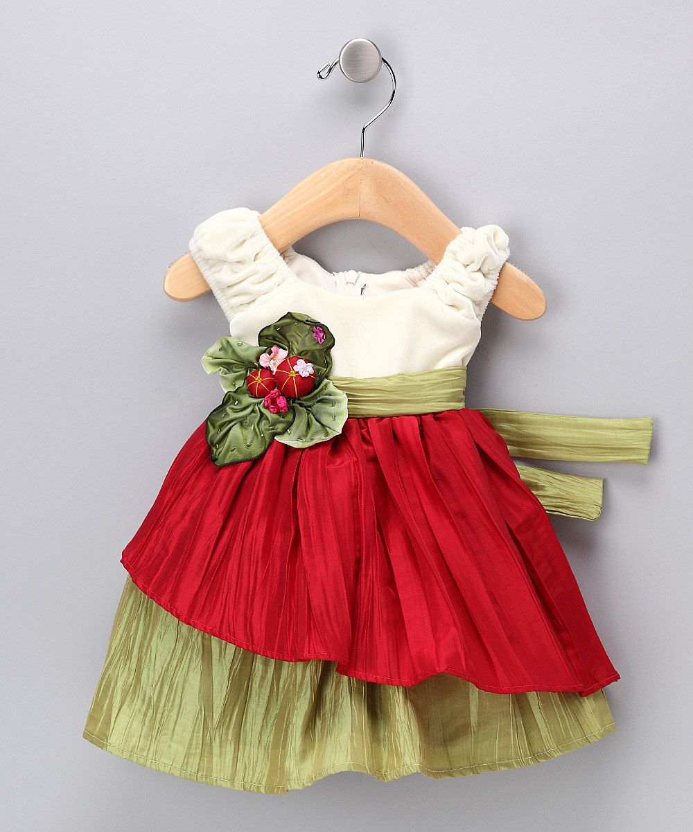 Cream & Red Velvet Dress Infant, Toddler & Girls would