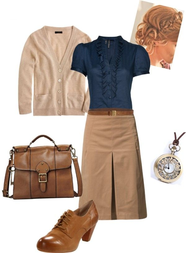 """""""Back in Time"""" by daisyhedo ❤ liked on Polyvore/ love the skirt and shirt"""