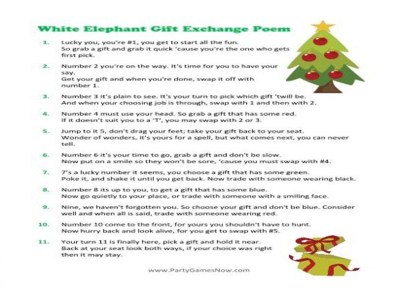 Christmas Gift Exchange Poem White Elephant | Giftsite.co