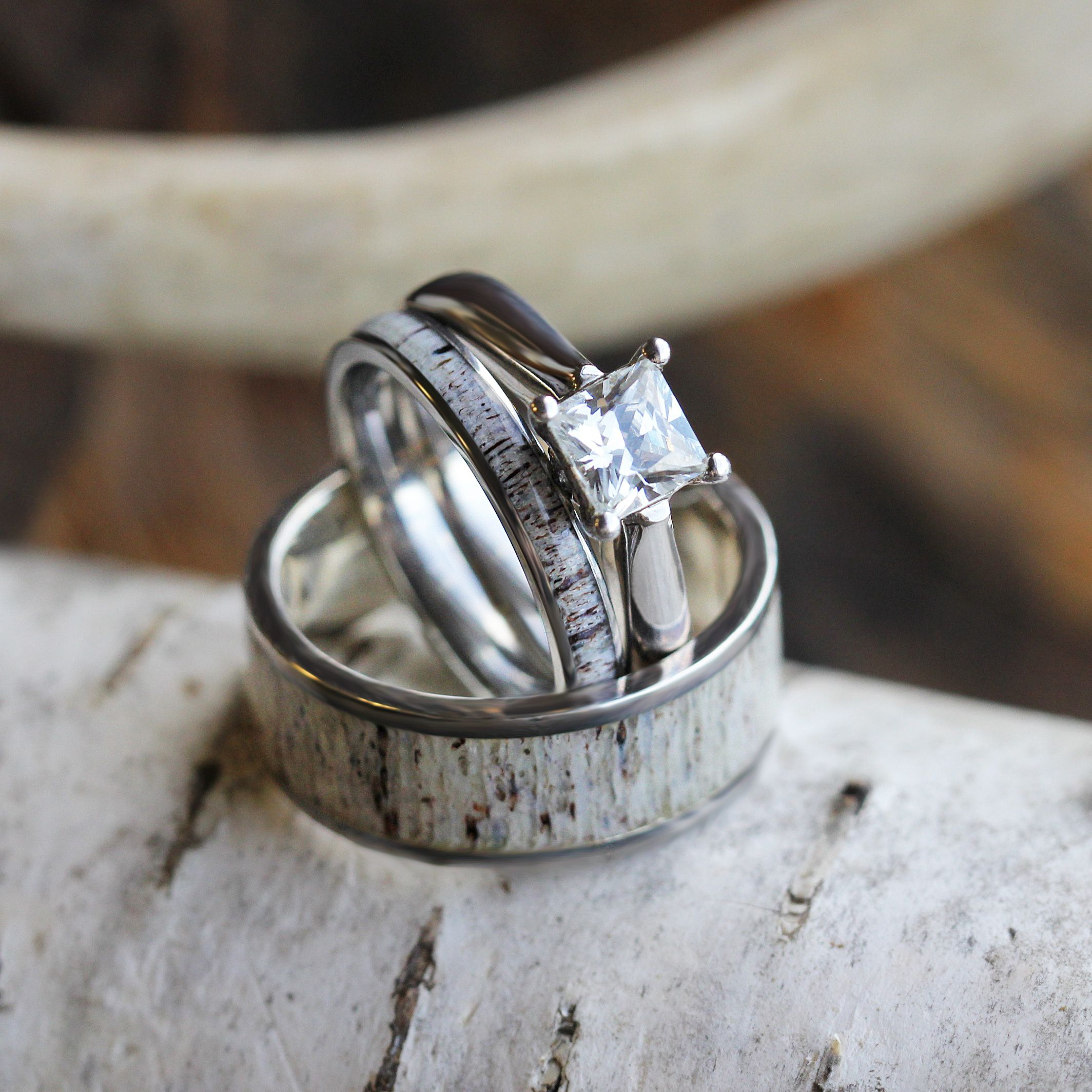 Deer Antler Wedding Ring Set, His And Hers Matching