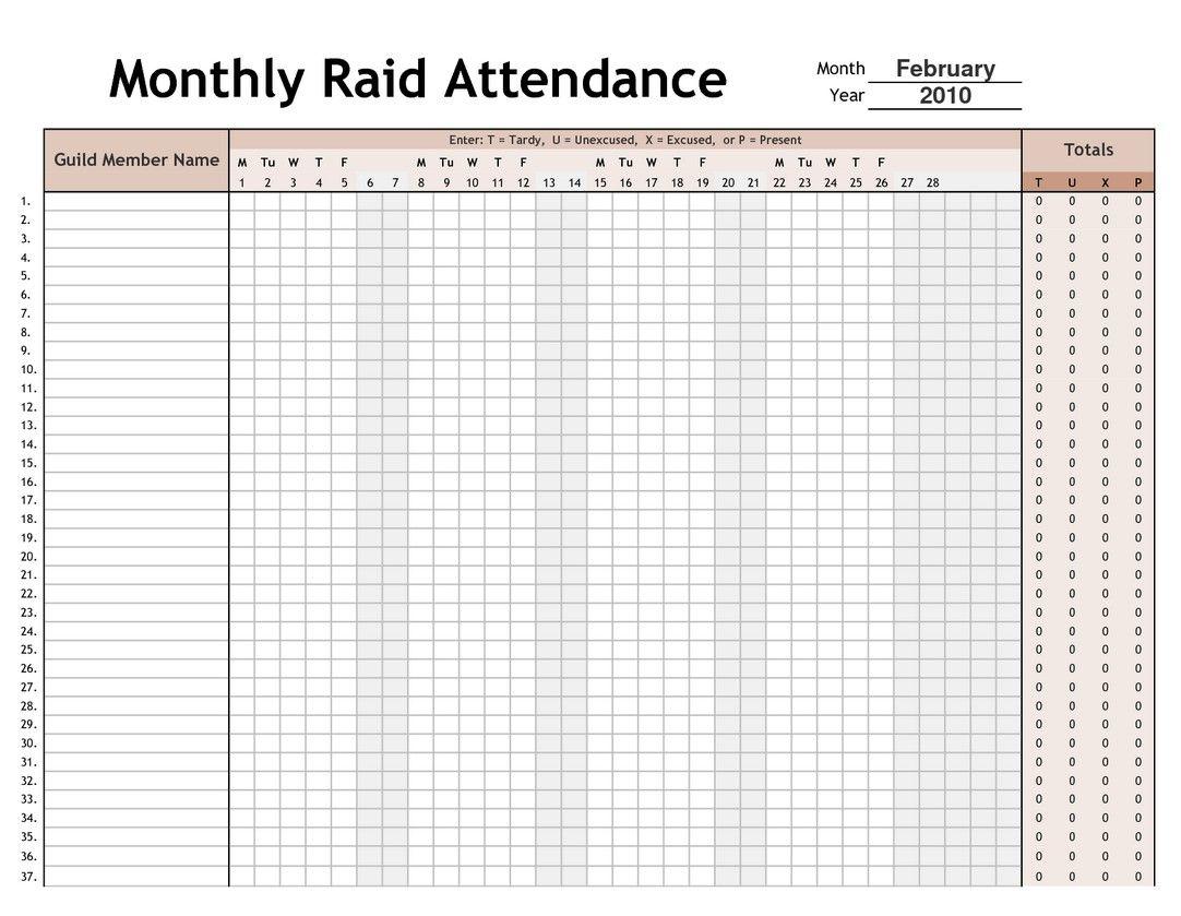 Printable Employee Attendance Calendar 4