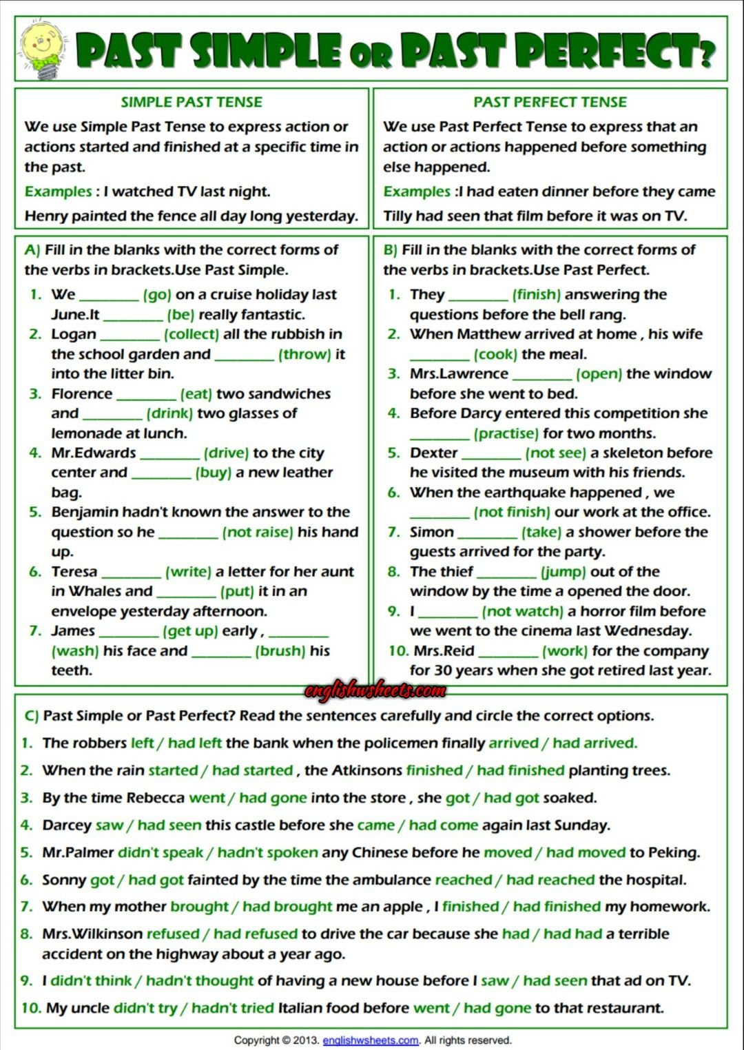 Simple Past Or Past Perfect Esl Exercises Worksheet