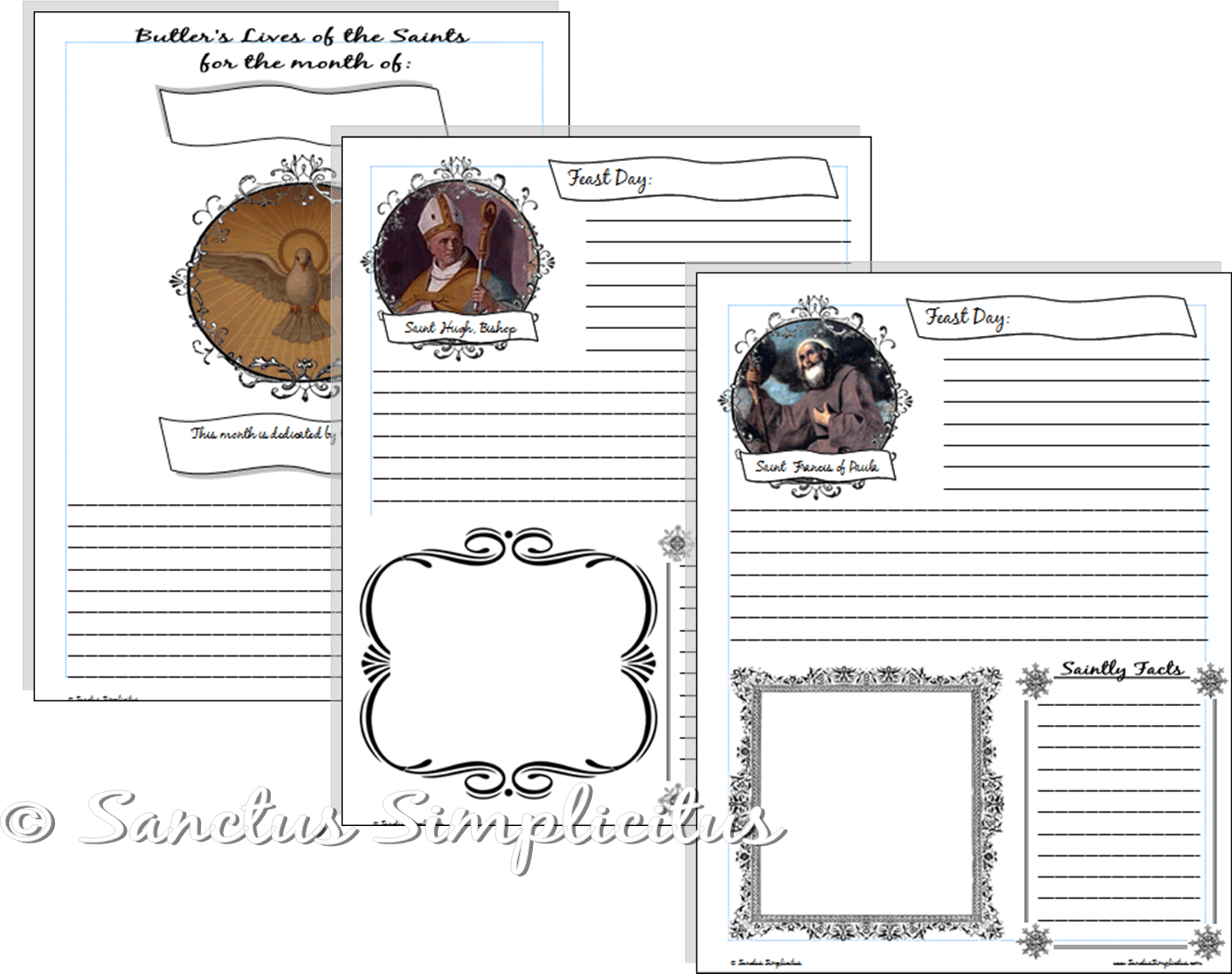 Notebooking Pages For Butler S Lives Of The Saints Free