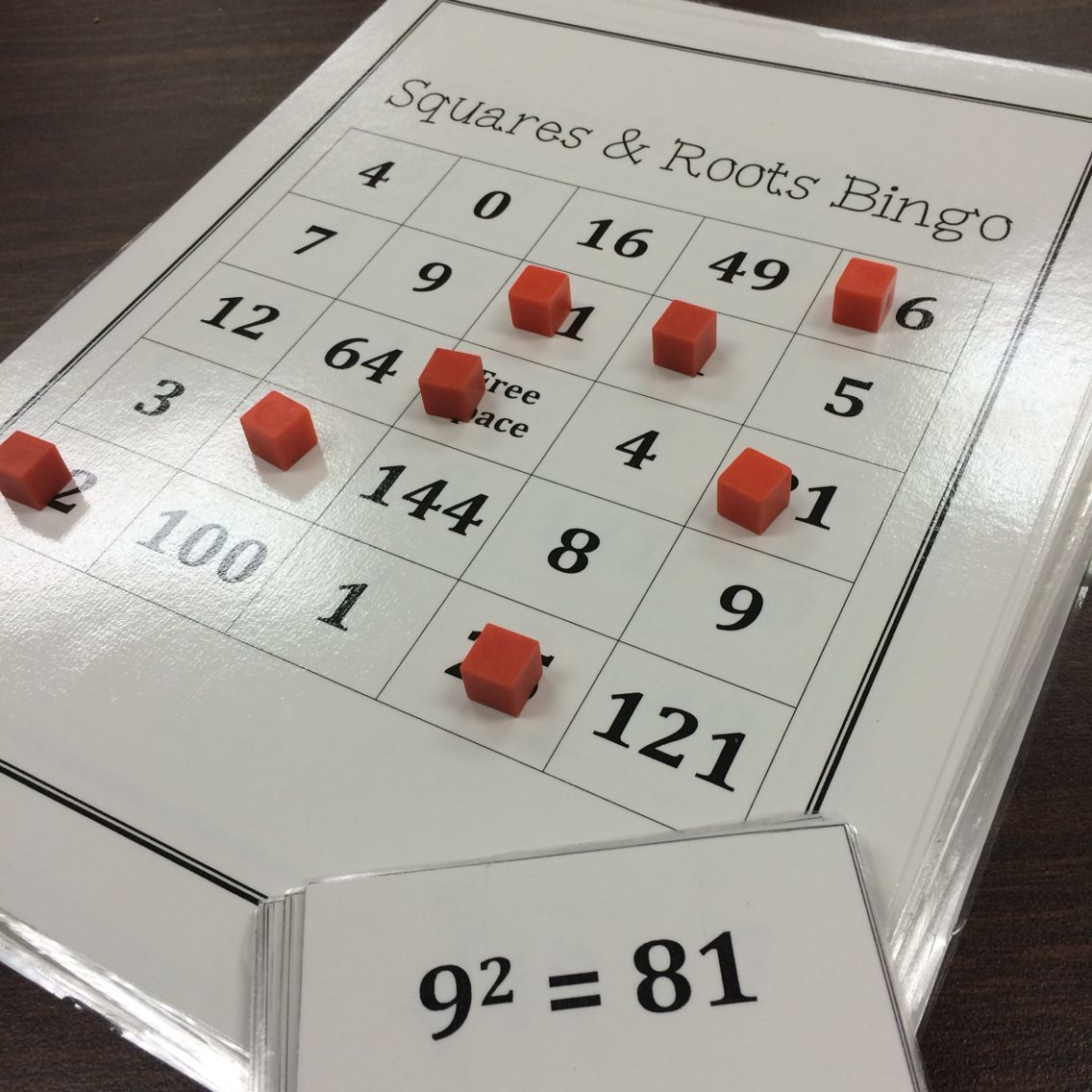Squares And Square Roots Bingo