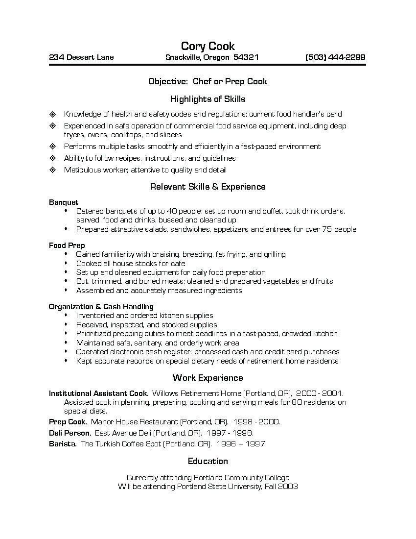 sample resume for cook