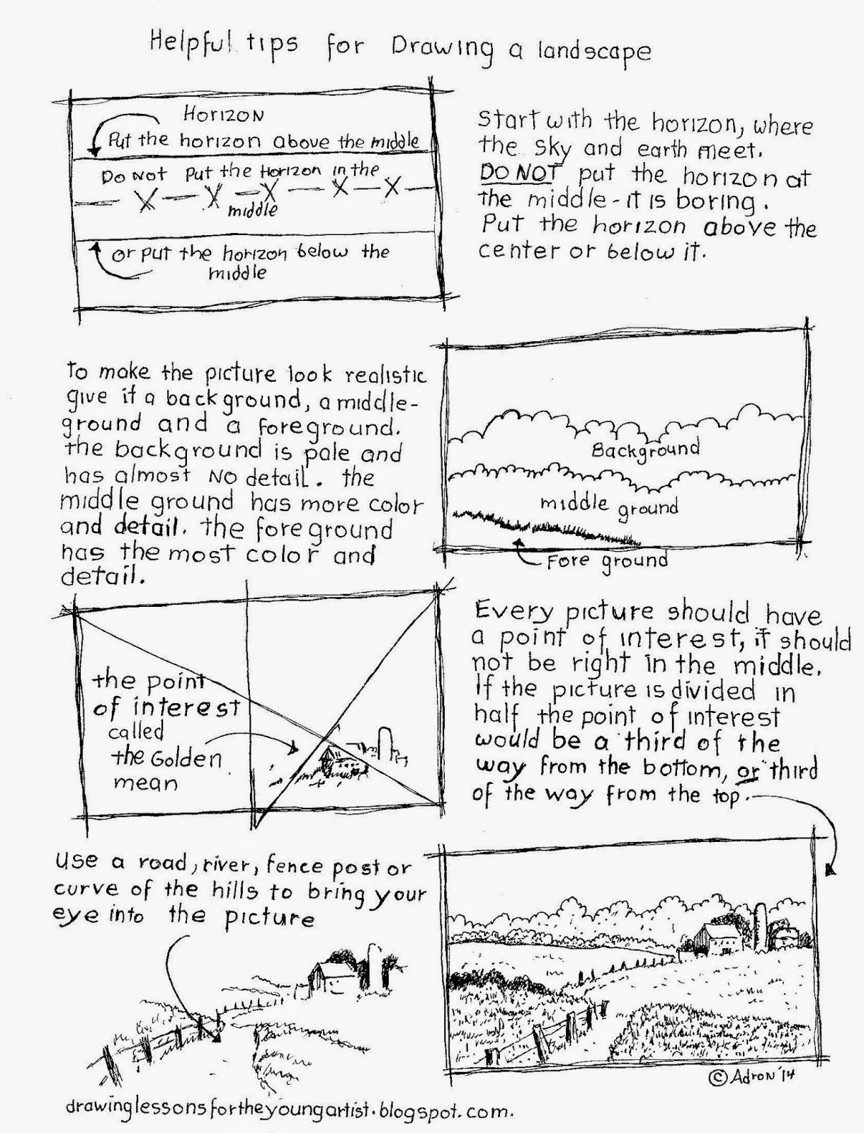 Tips For Drawing A Landscape Worksheet See More At My Blog