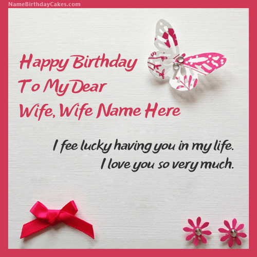 Write name on Butterflies Birthday Card for Wife Happy