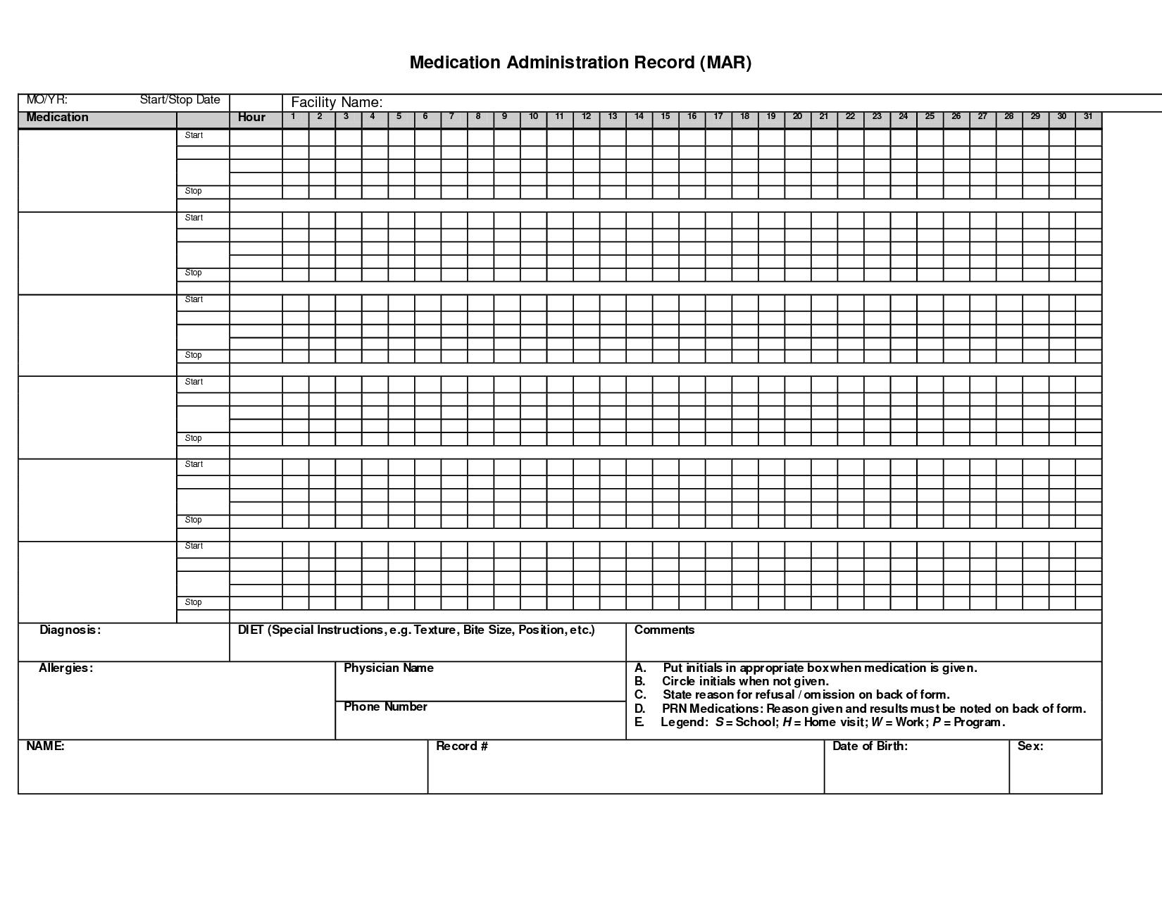 Administration Record Printable Medication Chart