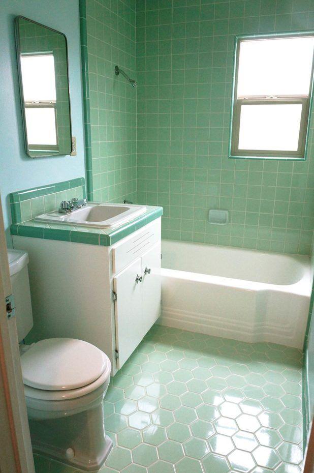 Inspire Mid Century Modern Green Subway Tile Bathroom with ...