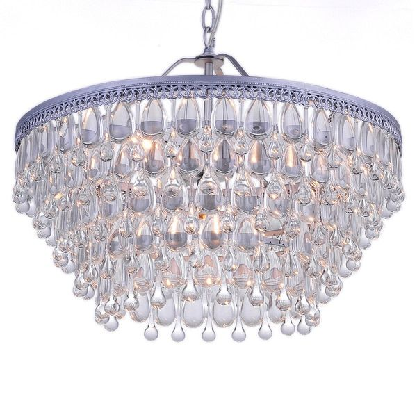 D With Hundreds Of Glass Droplets In Alternating Teardrop And Raindrop Shapes This Chandelier Is Pure Drama