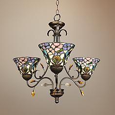 Peony Art Glass 24 Wide Dale Tiffany Chandelier