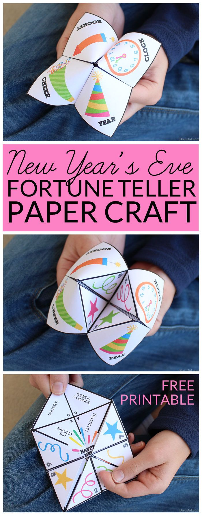 New Year's Eve Fortune Teller Paper Craft Paper fortune