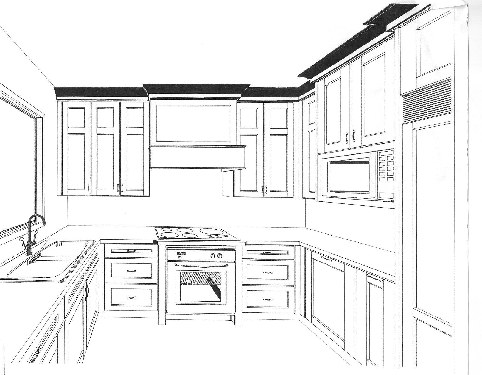 3d Drawing Kitchen 2 3d Designs Kitchens