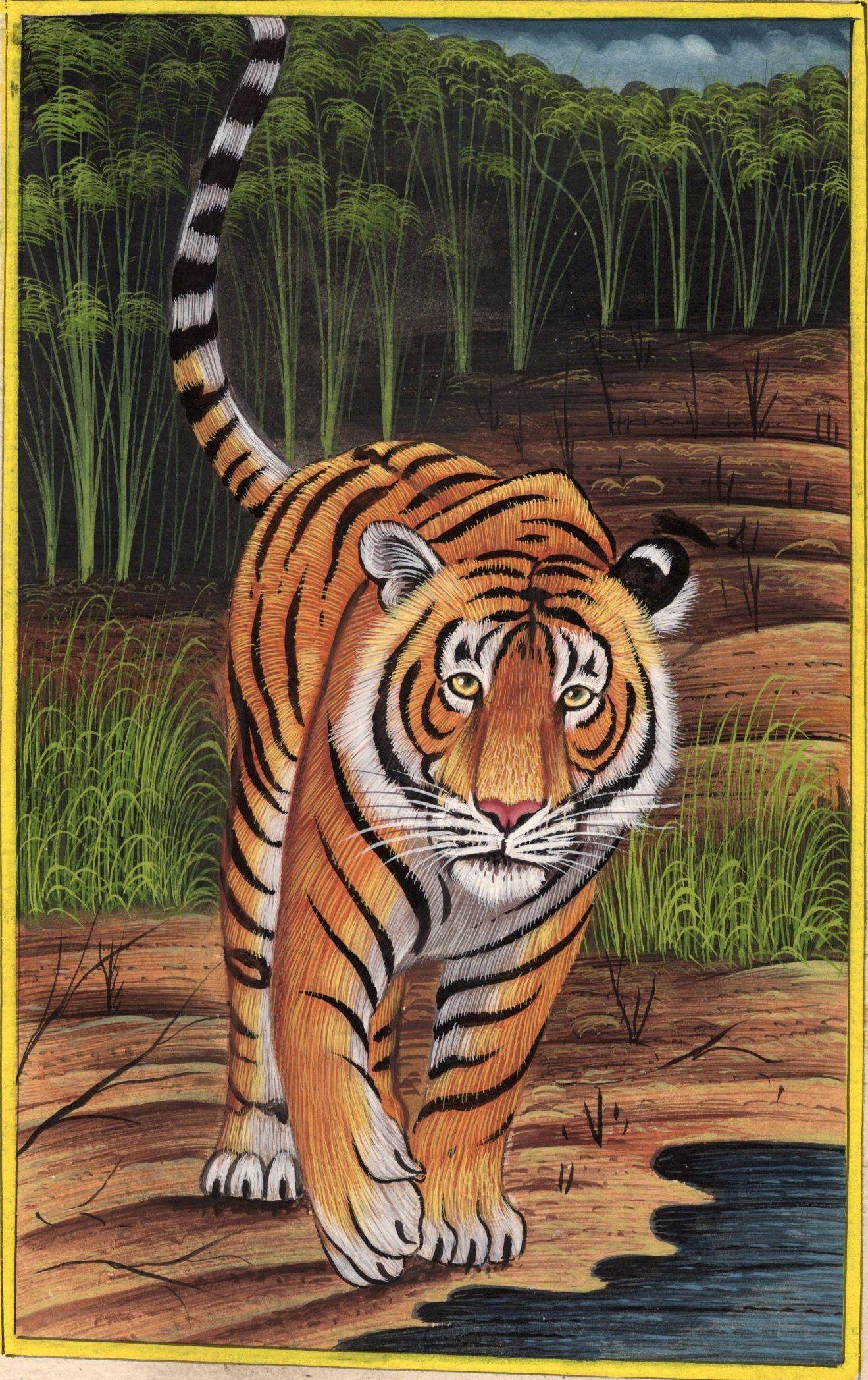 Royal Bengal Indian Tiger Handmade Art Grand Miniature