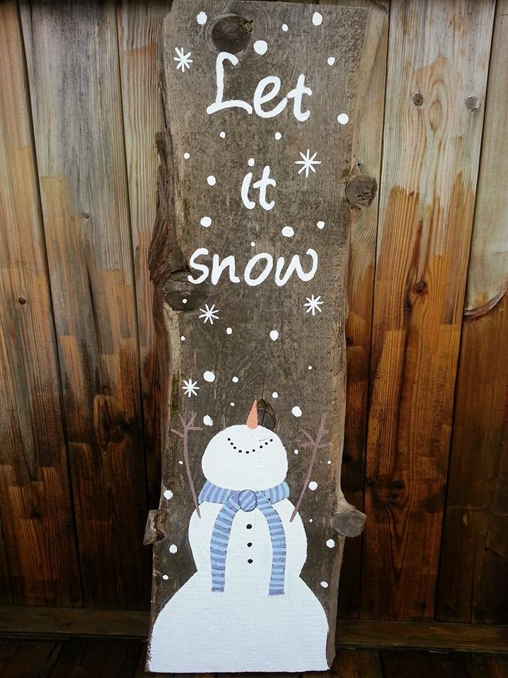 Snowman painted on barn board, let it snow. Made in Utopia
