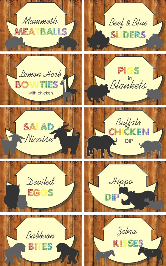 INSTANT DOWNLOAD Noah's Ark Birthday Party Food Labels