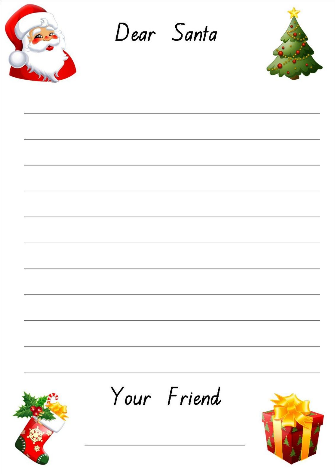 Download Free Printable For Kids To Write Their Letter To Santa