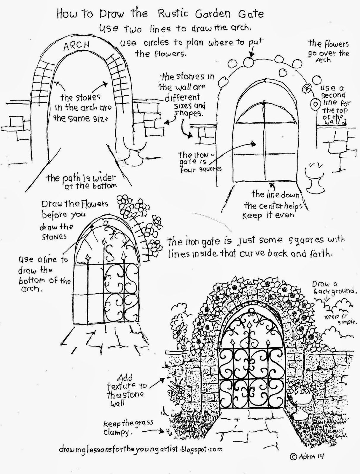 How To Draw The Rustic Garden Gate With A Stone Arch How To Draw Worksheets For Young Artist