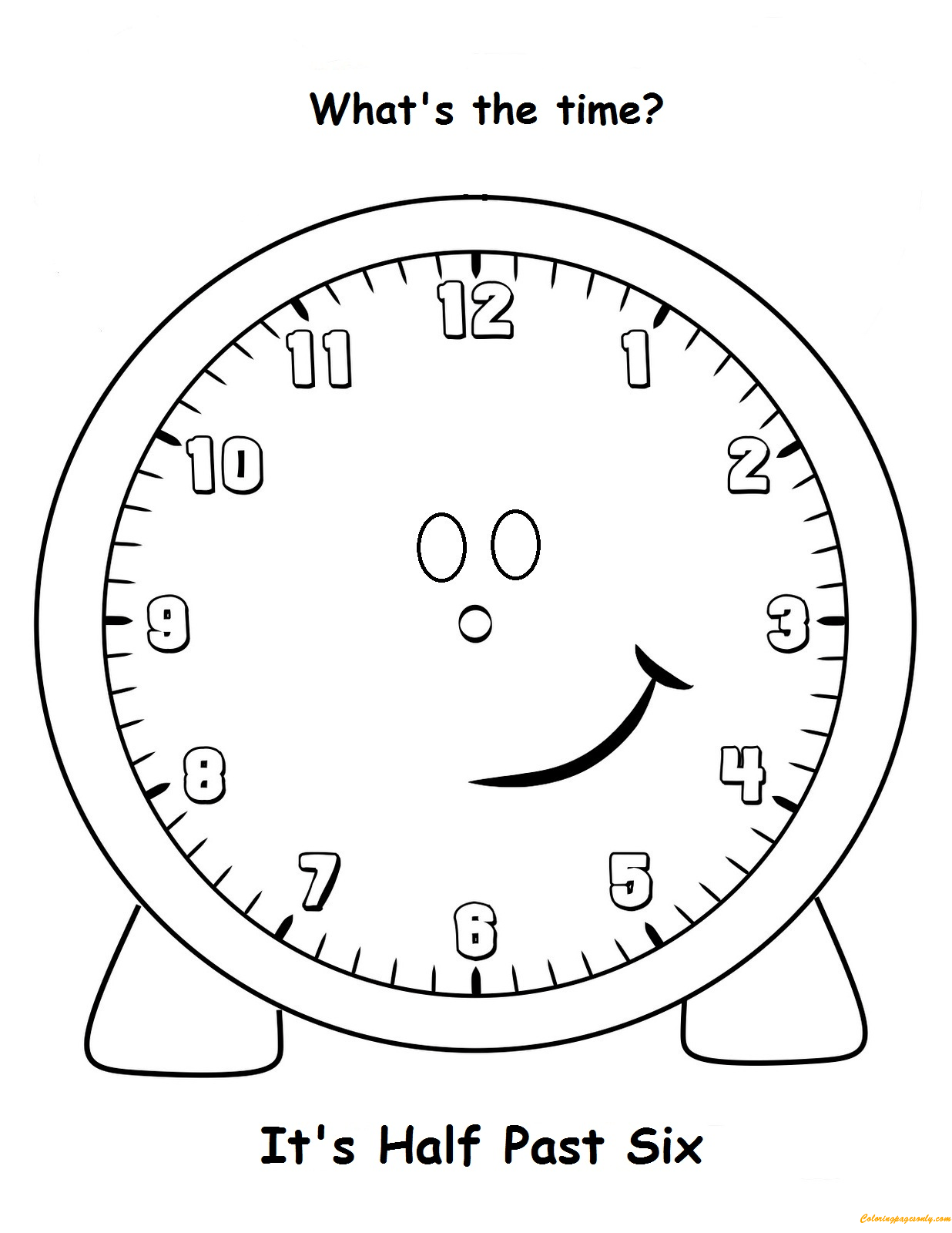 Half Past Six Coloring Page