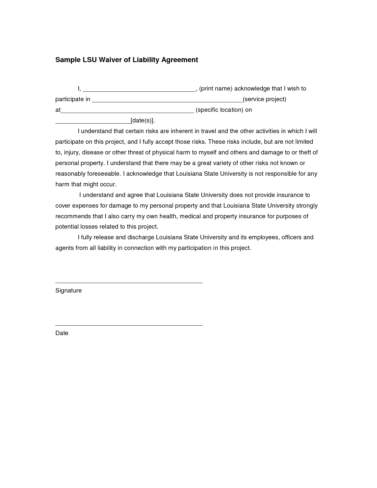 participation waiver template - writing a letter of recommendation waiver not responsible