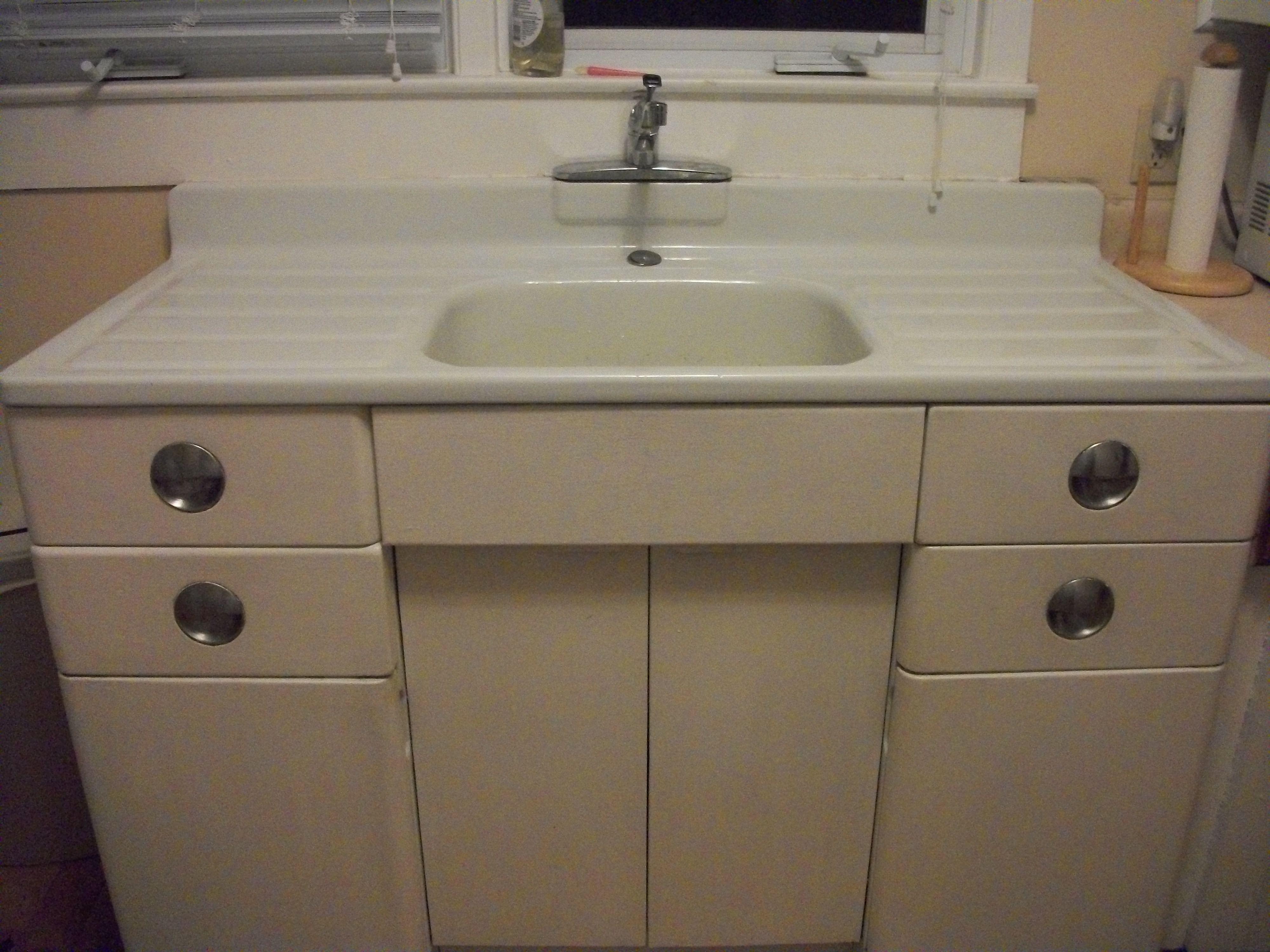 Metal Kitchen and Porcelain Sink For Sale