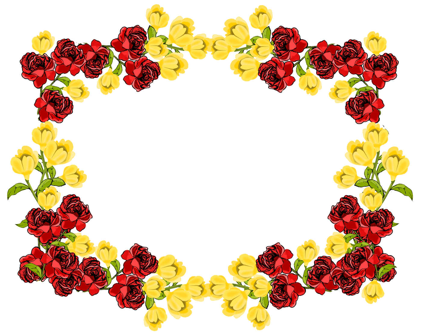 free red and yellow flower frame png Rosenrahmen