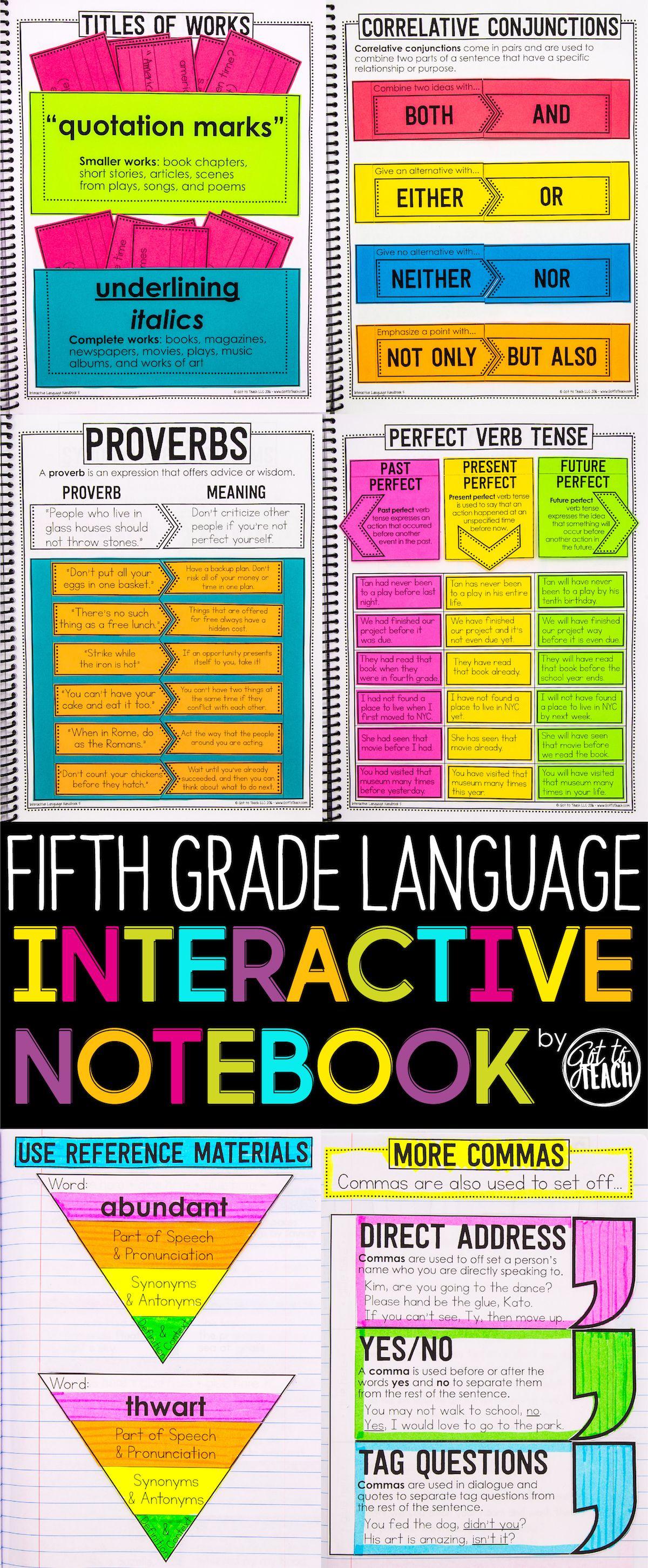 5th Grade Language Interactive Notebook Grammar