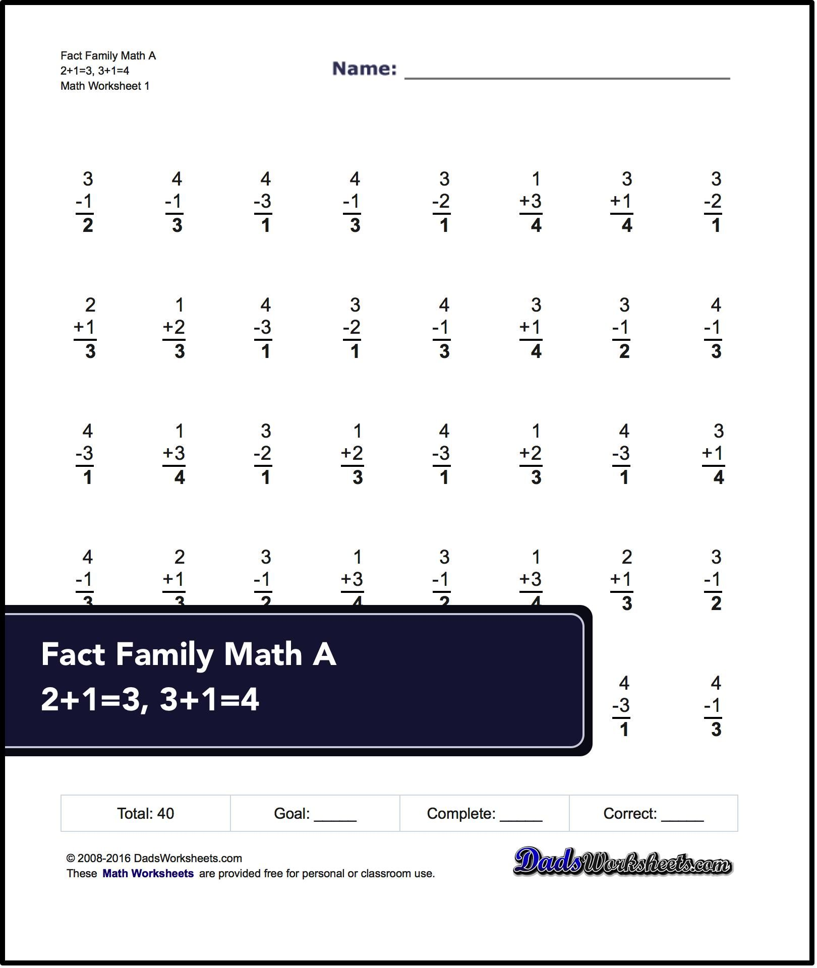 These 40 Problem Addition And Subtraction Fact Family