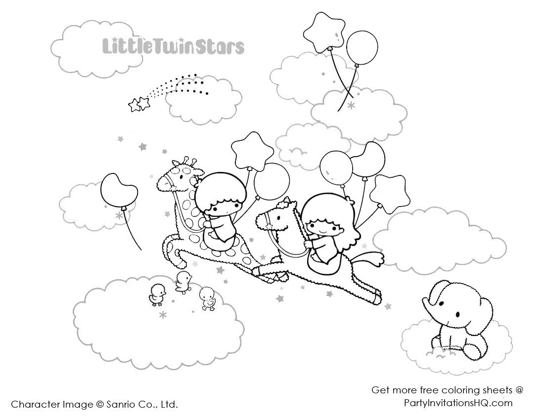 Little Twin Stars Colouring Sheets