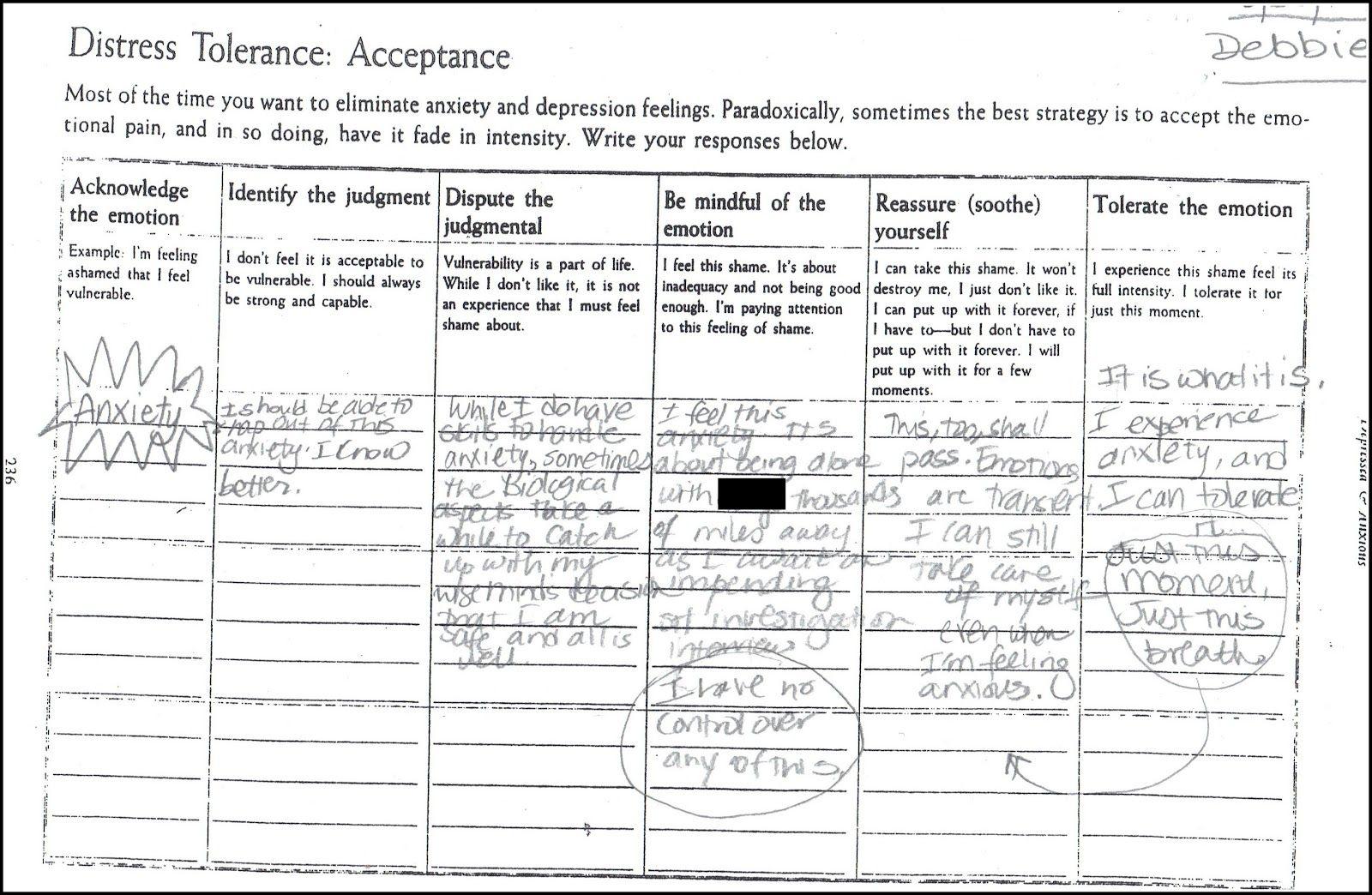 Distress Tolerance Acceptance Worksheet Dbt