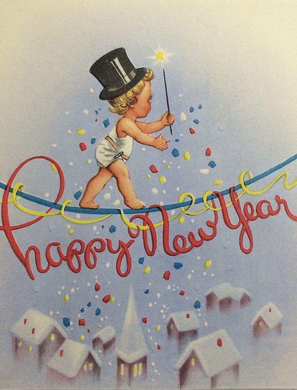 Vintage Happy New Year Card. Eastern Orthodontics