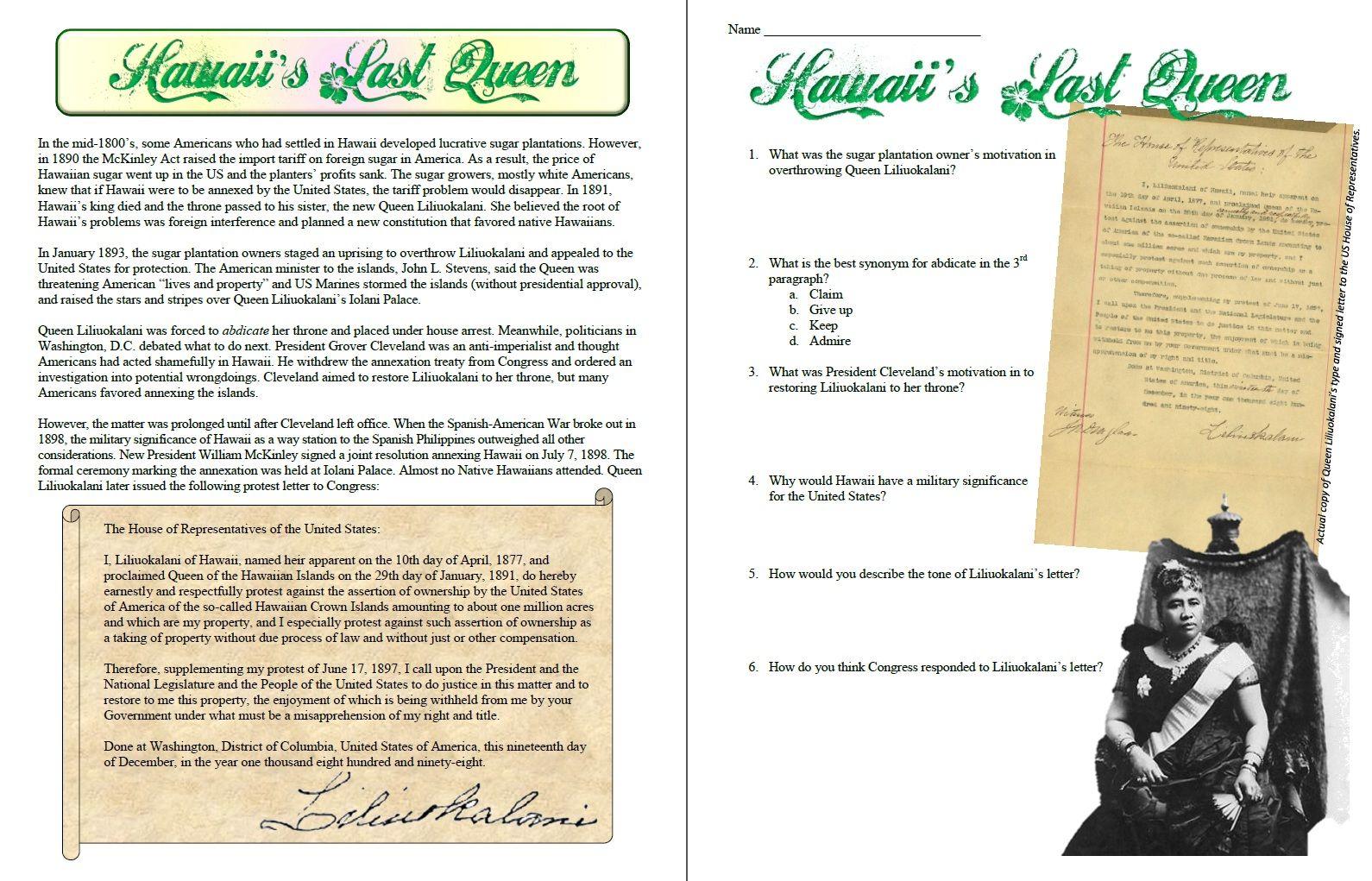 Liliuokalani Last Queen Of Hawaii Primary Source Reading