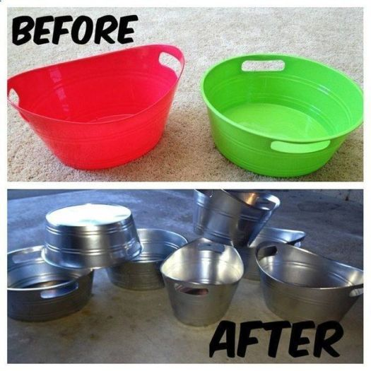 Spray Painting Turn Dollar Pails Into Metal Look Tubs
