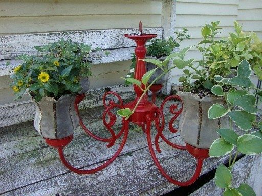 Repurposed Chandelier Used To Hold Pots Plants